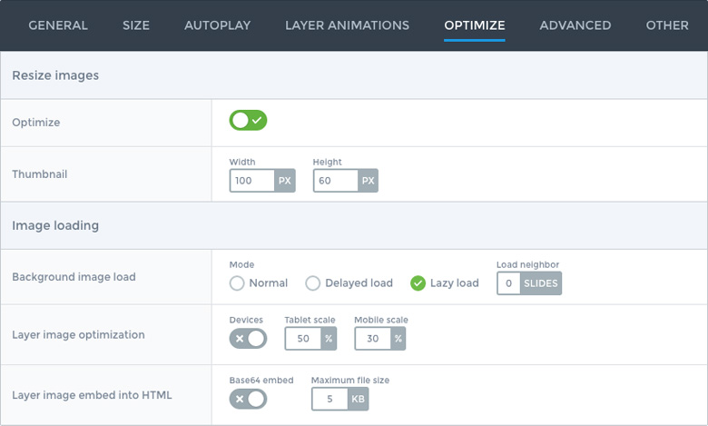 Optimization settings in Smart Slider 3