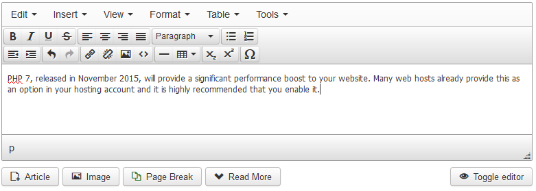 Toolbar in Joomla 3.4