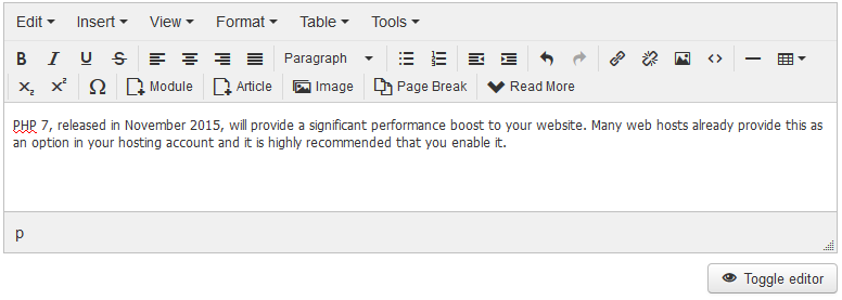 Toolbar in Joomla 3.5