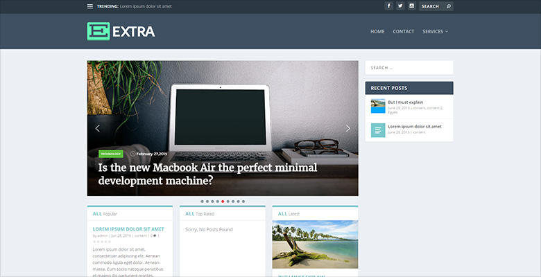 Extra WordPress theme with Smart Slider 3