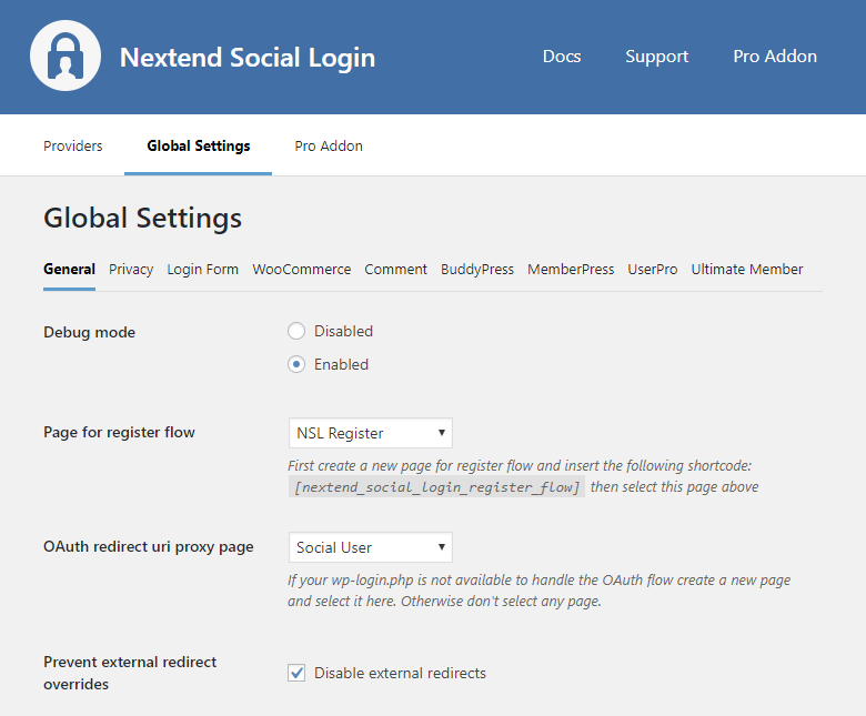Global Settings - General – Nextend Social Login – WordPress