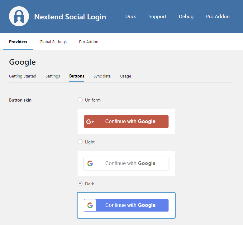 Provider Google Nextend Social Login WordPress Plugin - Google docs sign in