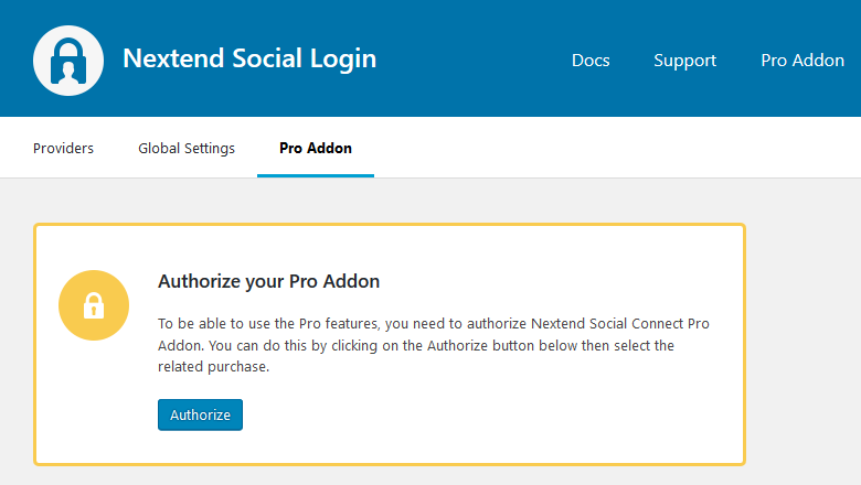 Authorize the Pro Addon