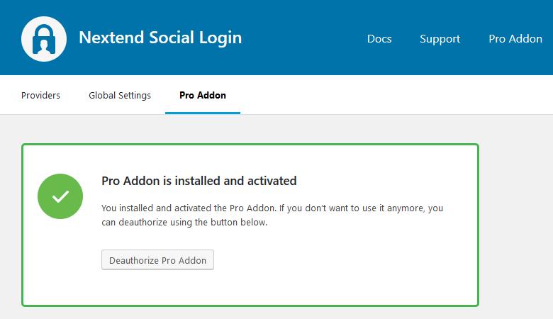 Pro Addon installed