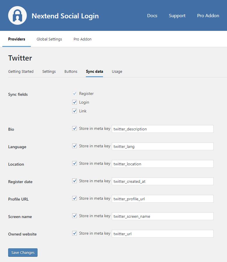 Twitter Sync Data