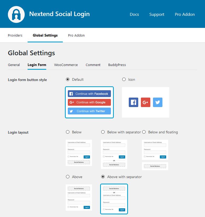 Global Settings Login Form Pro 1