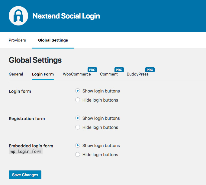 Nextend Social Login Global Settings