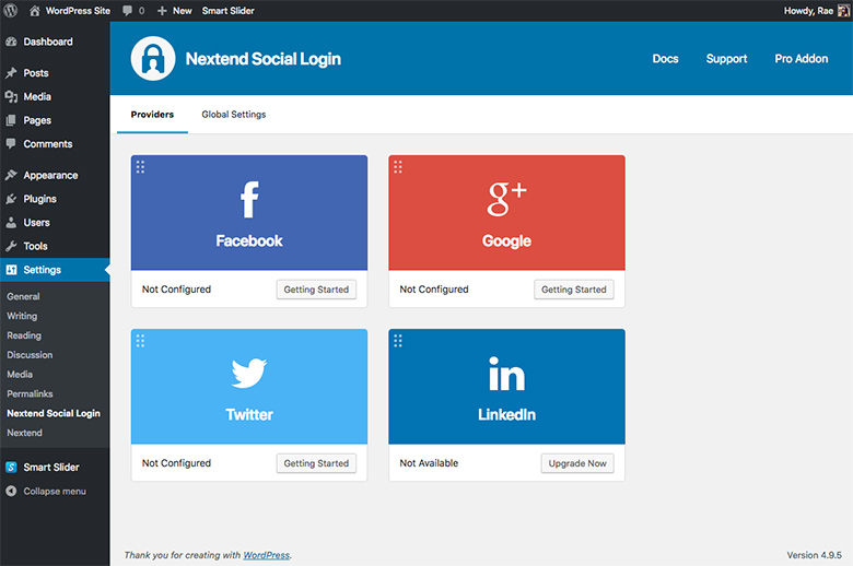 Nextend Social Login dashboard