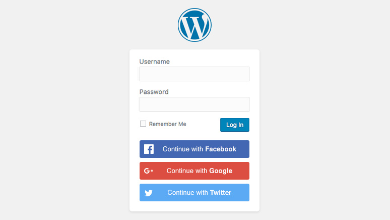 Social Login buttons on the WordPress login page