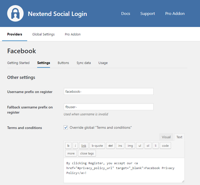 Provider - Facebook – Nextend Social Login – WordPress Plugin