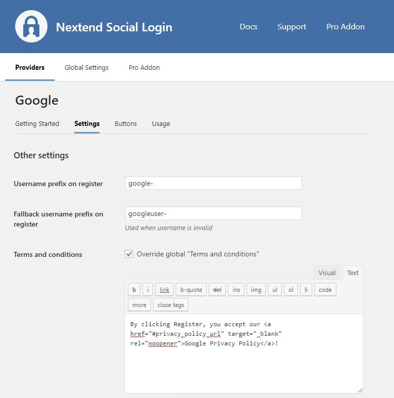 Google Provider Configuration