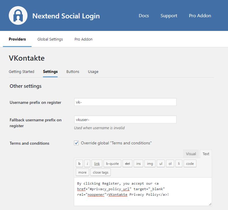 Provider - VKontakte – Nextend Social Login – WordPress Plugin