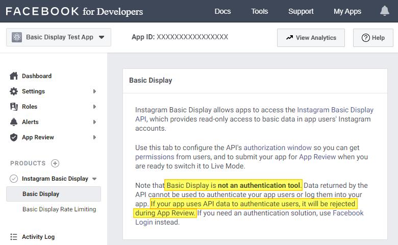 Instagram Basic Display API limitation