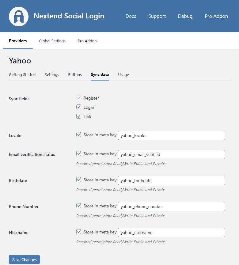 Yahoo Sync Data