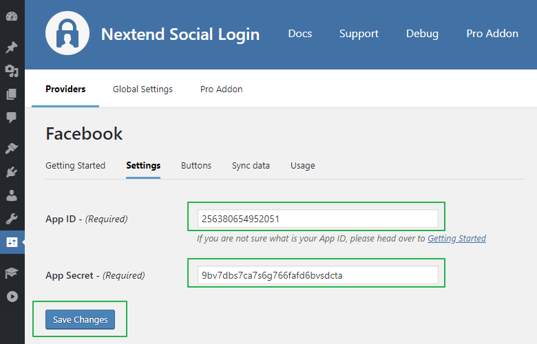 NSL - Facebook  Login Settings