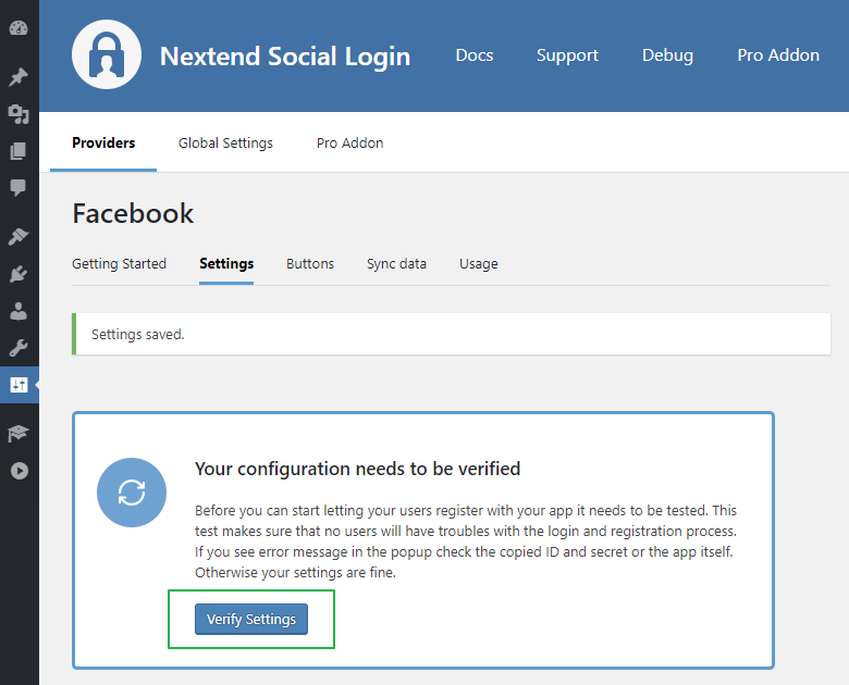 NSL - Facebook Login Verification