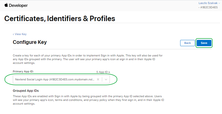 Sign with Apple - Create Key Config