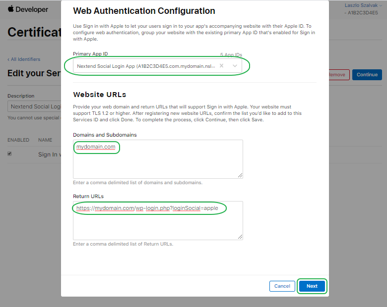 Sign with Apple - Create Service Config